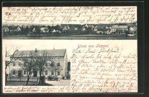 AK Leippen, Ansicht vom Gasthof, Blick auf den Ort