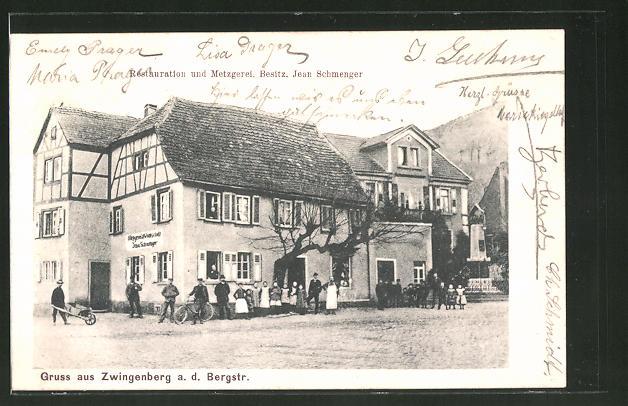 Ak Zwingenberg A D Bergstr Restaurant Und Metzgerei Von J
