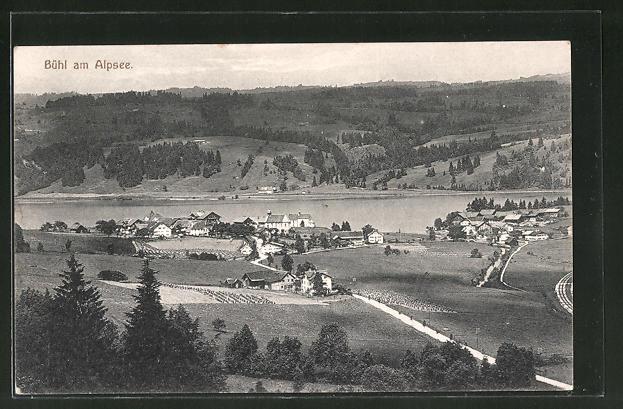 AK Bühl am Alpsee, Blick über die Ortschaft auf den Alpsee