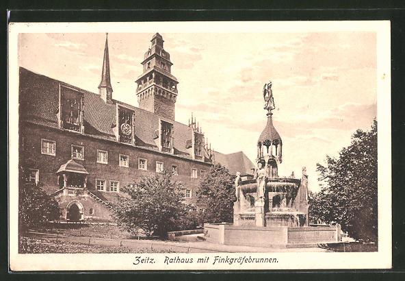 AK Zeitz, Rathaus mit Finkgräfebrunnen