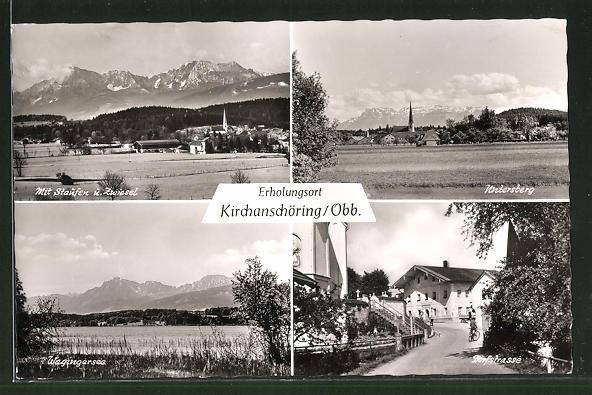 AK Kirchanschöring / Obb., Dorfstrasse, Wagingersee und Blick auf Untersberg