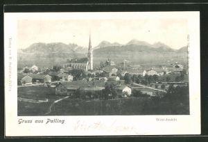 AK Palling, West-Ansicht des Ortes aus der Vogelschau