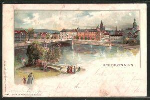Lithographie Heilbronn a. N., Ortspartie aus der Vogelschau