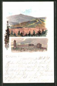 Lithographie Brocken, Blick zum Brockenhotel