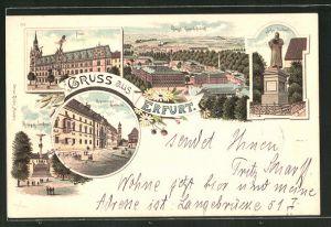 Lithographie Erfurt, Post, Kgl. Gewehrfabrik, Lutherdenkmal, Regierungsgebäude