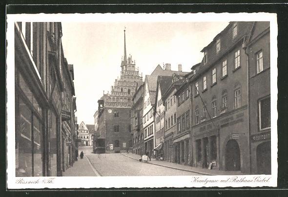AK Pössneck / Thür., Krautgasse mit Rathausgiebel