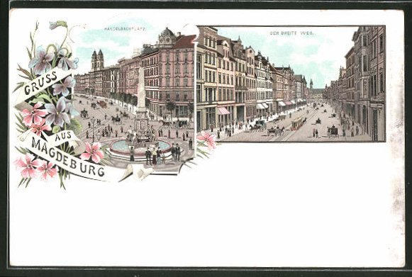 Lithographie Magdeburg, Hasselbachplatz, Partie am Breiten Weg