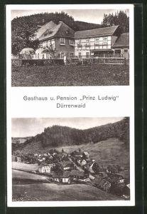 AK Dürrenwaid, Totalansicht aus der Vogelschau, Gasthaus & Pension