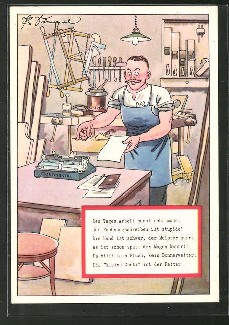 Künstler-AK Reklame für Schreibmaschine