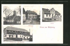 AK Wolfsberg, Schule, Pfarrhaus, Kirche, Gasthaus