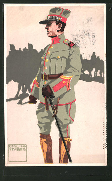 Künstler-AK sign. Emil Huber: Schweizer Felduniform, Neue Ordonanz, 10. Feldartillerie, Offiziers-Aspirant, Wachtmeister