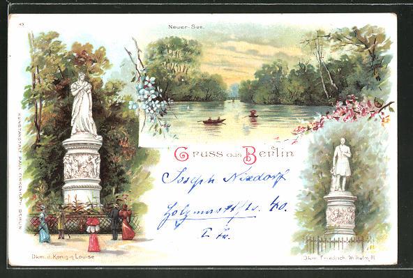Lithographie Berlin-Tiergarten, Denkmal der Königin Louise, Denkmal Friedrich Wilhelm III., Neuer See