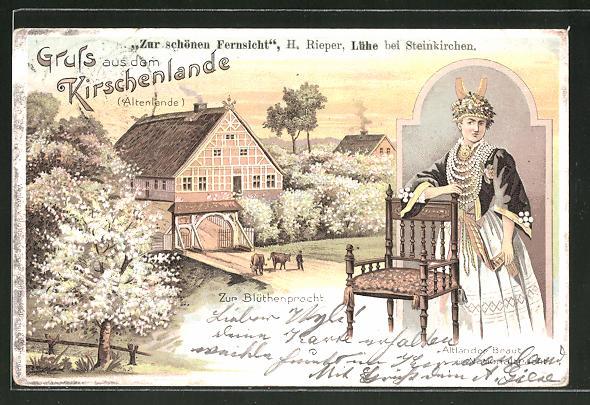 Lithographie Lühe, Zur schönen Fernsicht, Altländer Braut in Nationaltracht