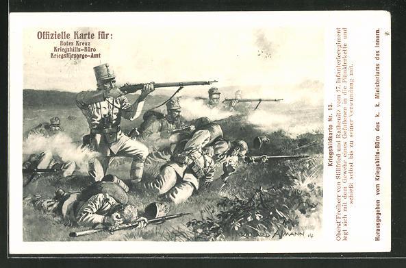 Künstler-AK Richard Assmann: Heldentat von Oberst Freiherr von Stillfried und Rathenitz vom 17. IR