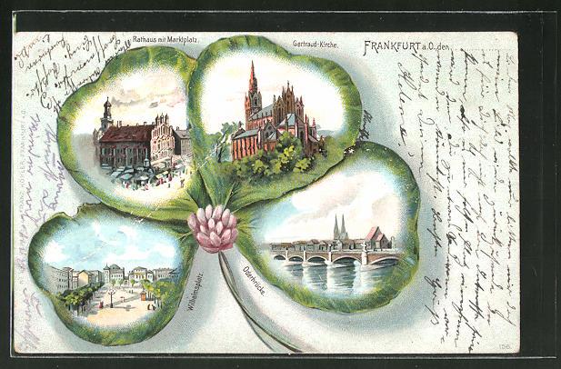 Passepartout-Lithographie Frankfurt, Gertraud-Kirche, Rathaus & Oderbrücke im Kleeblatt