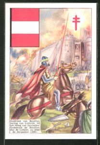 Künstler-AK Godfried van Bouillon, hertog van Lothrijk, bij het beleg van Jeruzalem, 1099