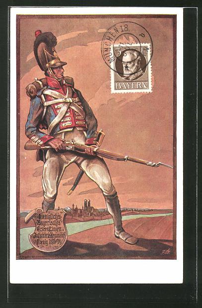 Künstler-AK Das 1. Infanterie-Regiment im Jahr 1813, königl. Bayerisches Erste Linien Infanterie-Regiment
