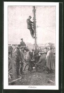 AK Soldaten beim Bau eines Sendemasts für das Feldtelefon