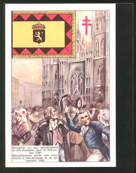 AK Manifestation apres une ceremonie a St-Gudule 1789, französische Revolution