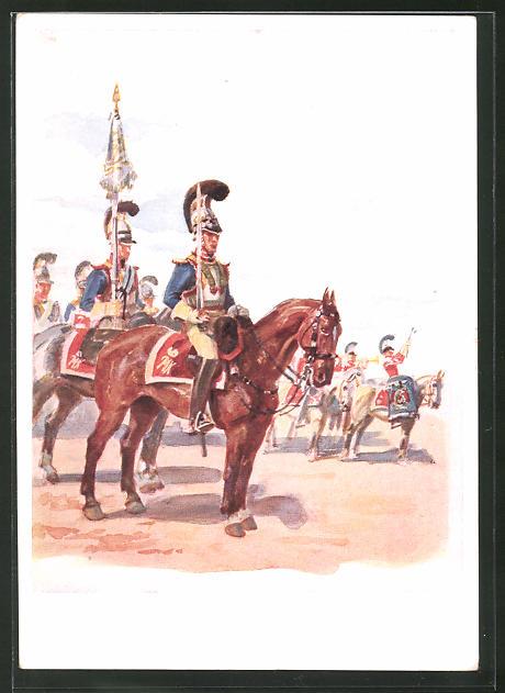 Künstler-AK Angelo Jank: K. B. 2. Kürassier- und Schweres Reiterregiment, Jubiläum 1940