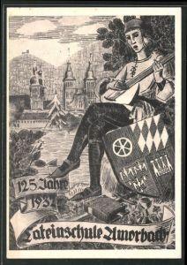 Künstler-AK Amorbach, 125 Jahrfeier der Lateinschule 1932, Minnesänger mit Laute und Wappen
