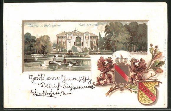 Passepartout-Lithographie Karlsruhe, Partie im Stadtgarten, Wappen