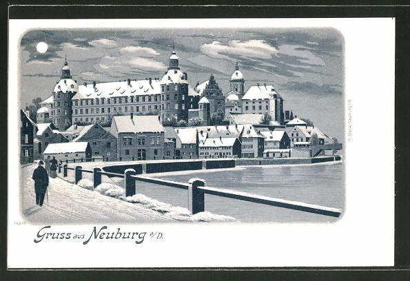 Winter-Lithographie Neuburg a. D., Teilansicht mit Kloster im Mondenschein