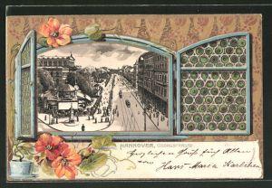 Passepartout-Lithographie Hannover, Blick durch ein Fenster in die Georgstrasse