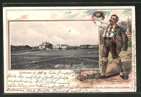 Passepartout-Lithographie Schönram, Teilansicht der Ortschaft, Passepartout mit Bayer in Tracht