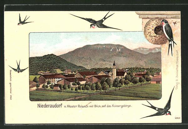 Passepartout-Lithographie Niederaudorf, Teilansicht mit Kloster Reisach und Kaisergebirge, Schwalben