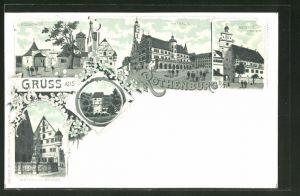 Lithographie Rothenburg o. T., Röderthor, Weisser Thurm, Herterichs-Brunnen, Rathaus