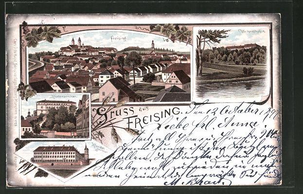 Lithographie Freising, Ortsansicht, Blick auf Weihenstephan, Knabenseminar und Klerikal-Seminar