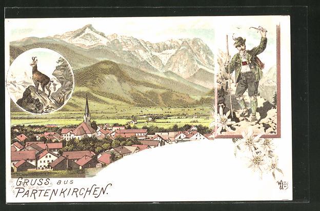 Lithographie Partenkirchen, Ortsansicht mit Bergpanorama, Mann in Tracht