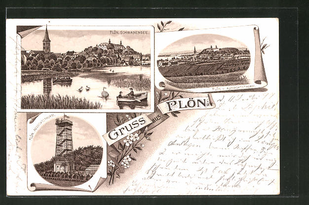 Lithographie Plön i. H., Blick auf Schwanensee und Aussichtsturm