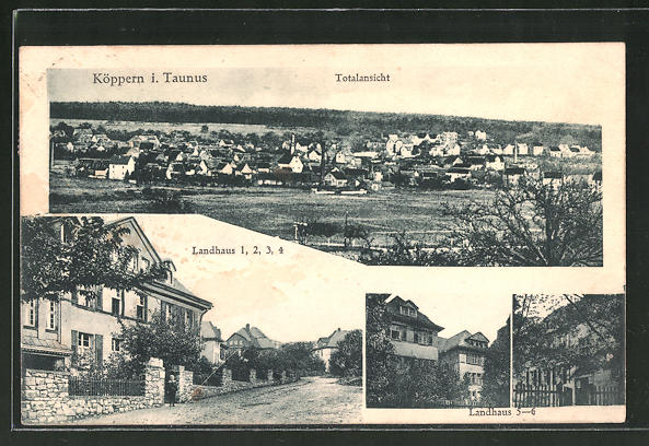 AK Köppern i. Taunus, Totalansicht, Blick auf Landhaus 1, 2, 3, 4 und Landhaus 5-6