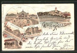 Lithographie Halle / Saale, Rathaus und Gasthof Rathskeller, Franke-Stiftung