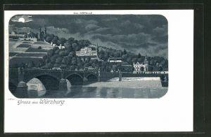 Mondschein-Lithographie Würzburg, Teilansicht mit Käpelle und Brücke