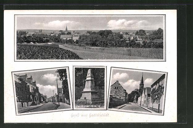 AK Gatterstädt, Ortsansicht aus der Vogelschau, Strassenpartie, Denkmal 1914 /18