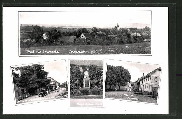 AK Leutenthal, Dorfstrasse mit Gemeine-Bäckerei, Kriegerdenkmal 1914 / 18, Dorfstrasse