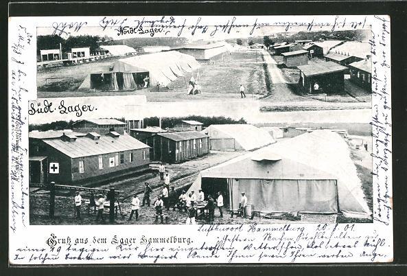 AK Lager Hammelburg, Ansichten aus nördlichem und südlichem Lager
