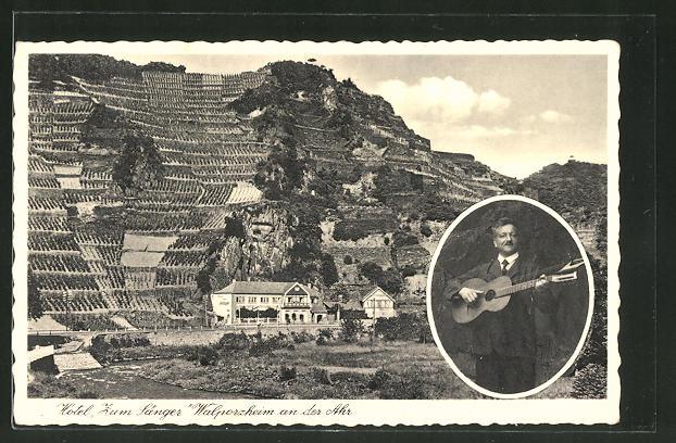 walporzheim hotel zum s nger 22383 nr 185254645 oldthing ansichtskarten deutschland. Black Bedroom Furniture Sets. Home Design Ideas
