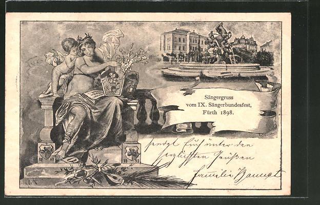 Künstler-AK Ganzsache Bayern PP7C28 /01: Fürth, IX. Sängerbundesfest 1898, Brunnen