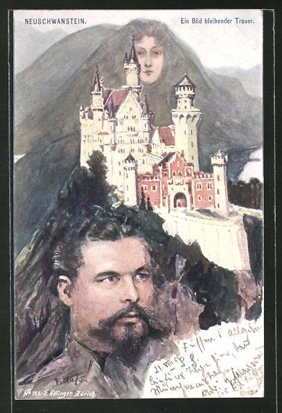 Künstler-AK Fritz Hass: Neuschwanstein, König Ludwig II. von Bayern, Berg mit Gesicht / Berggesichter