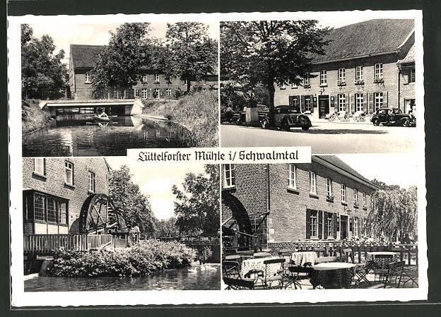 AK Lüttelforst, Gaststätte Lüttelforster Mühle, Mühlwerk, Terasse