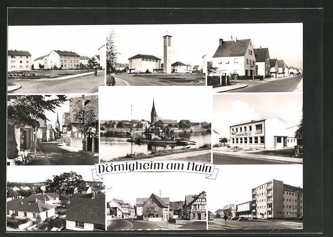 AK Dörnigheim a. Main, Ortsansicht, Ortspartie mit Häusern und Strasse, Altdeutsche Fachwerkhäuser