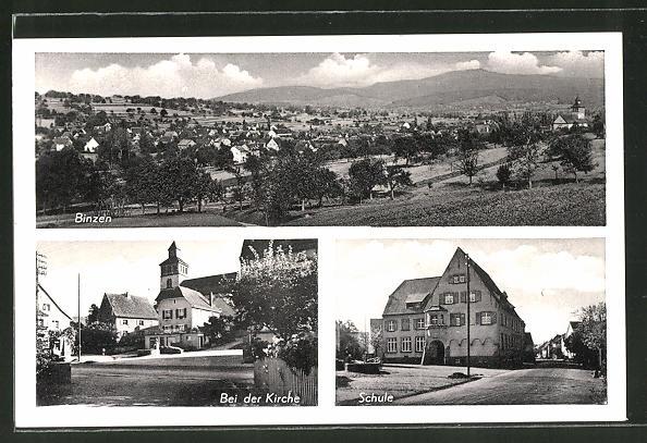 AK Binzen, Schule, Strassenpartie bei der Kirche