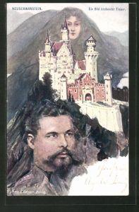 Künstler-AK Fritz Hass: Neuschwanstein, König Ludwig II.