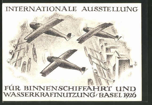 Künstler-AK Basel, Internationale Ausstellung für Binnenschiffahrt und Wasserkraftnutzung 1926