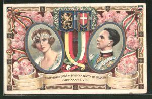 Künstler-AK S.A.R. Marie José und S.A.R. Umberto di Savoia
