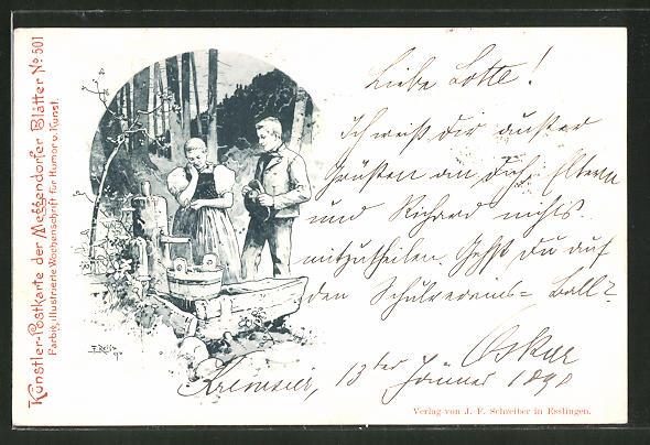 Künstler-AK Meggendorfer Blätter Nr. 501: Paar in Tracht an der Tränke